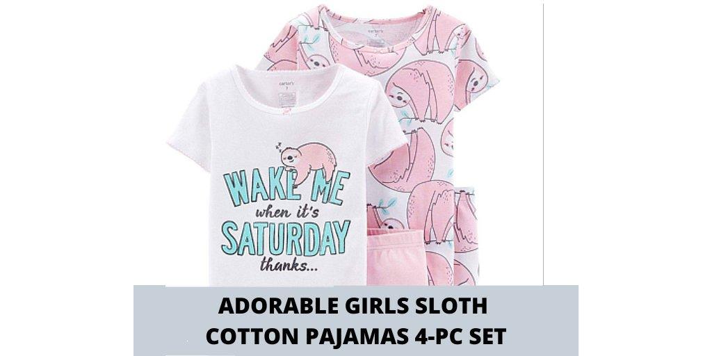Adorable Girls Sloth Cotton Pajamas 4-piece Set Social