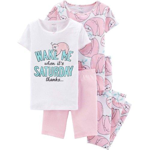 Adorable Girls Sloth Cotton Pajamas 4-piece Set