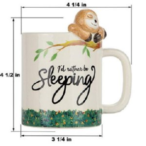 Would Rather Be Sleeping 3D Sloth Ceramic Cup