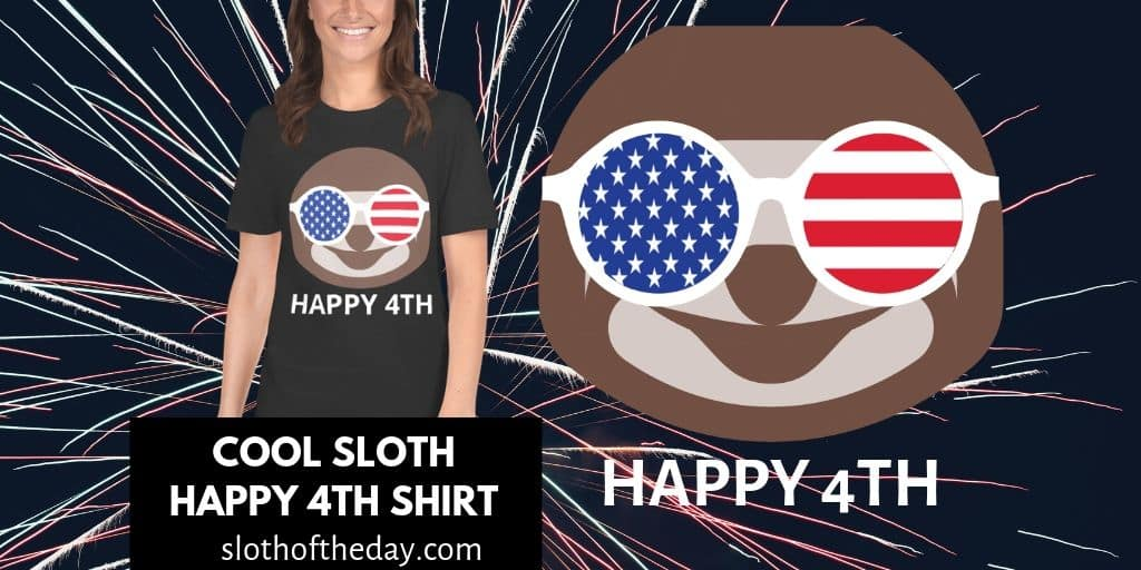 Cool Sloth Happy Fourth of July Shirt