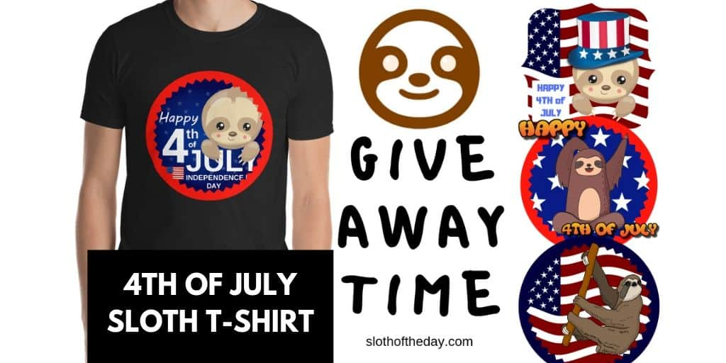 Give Away Time 4th of July Sloth T-shirt