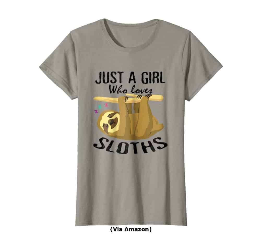 Just A Girl Who Loves Sloths Tshirt Lovers Awesome Gifts Small
