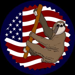 USA Flag Climbing Sloth Shirt Small