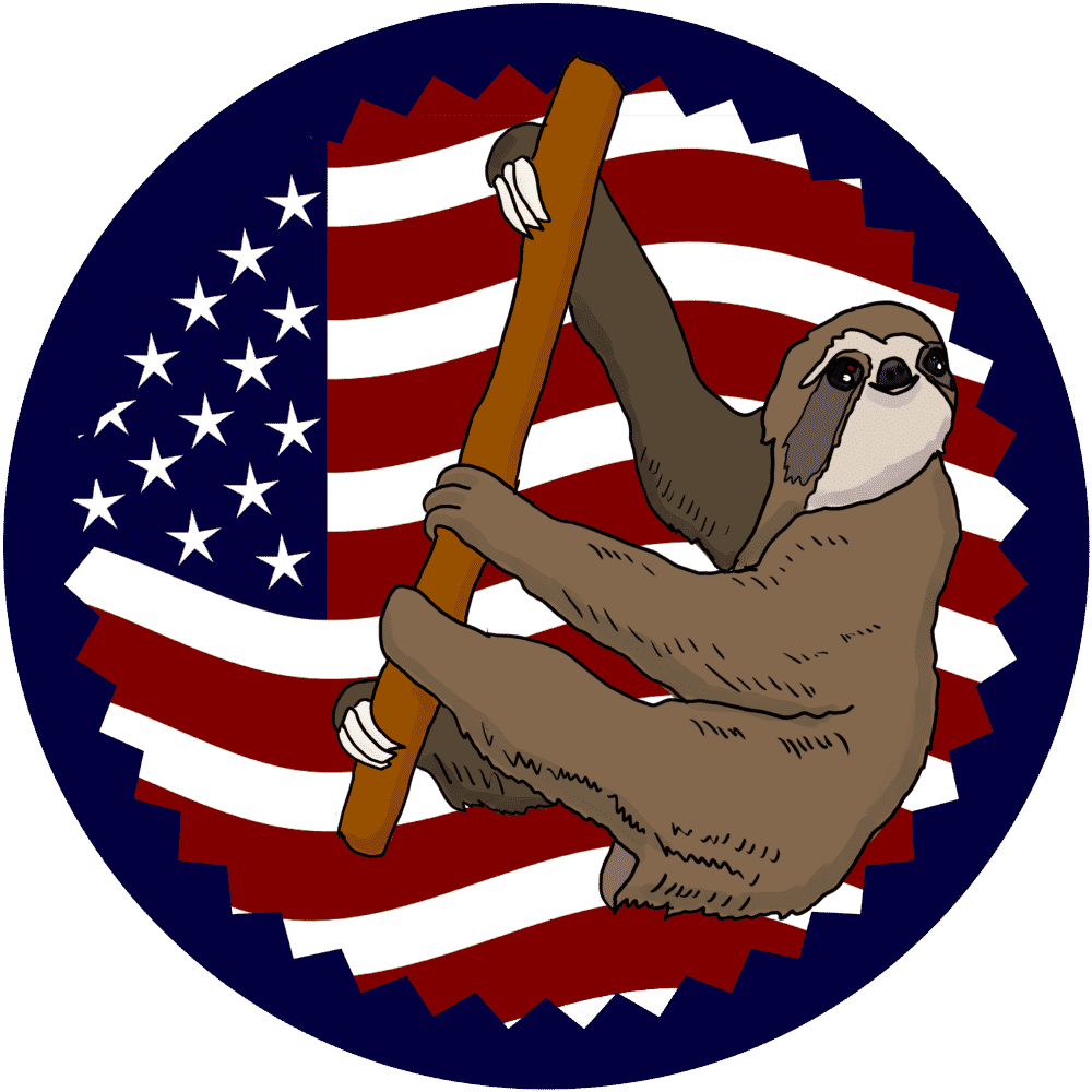 USA Flag Climbing Sloth Shirt Small