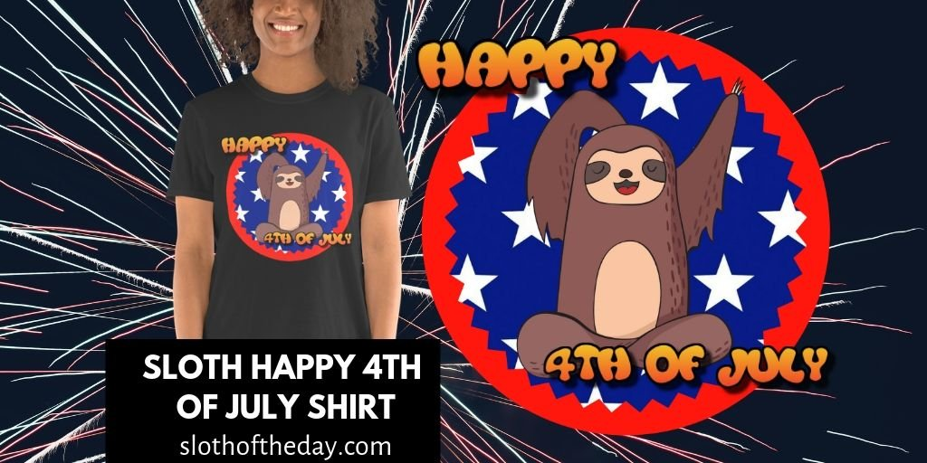 Waving Sloth Happy 4th Of July T-shirt