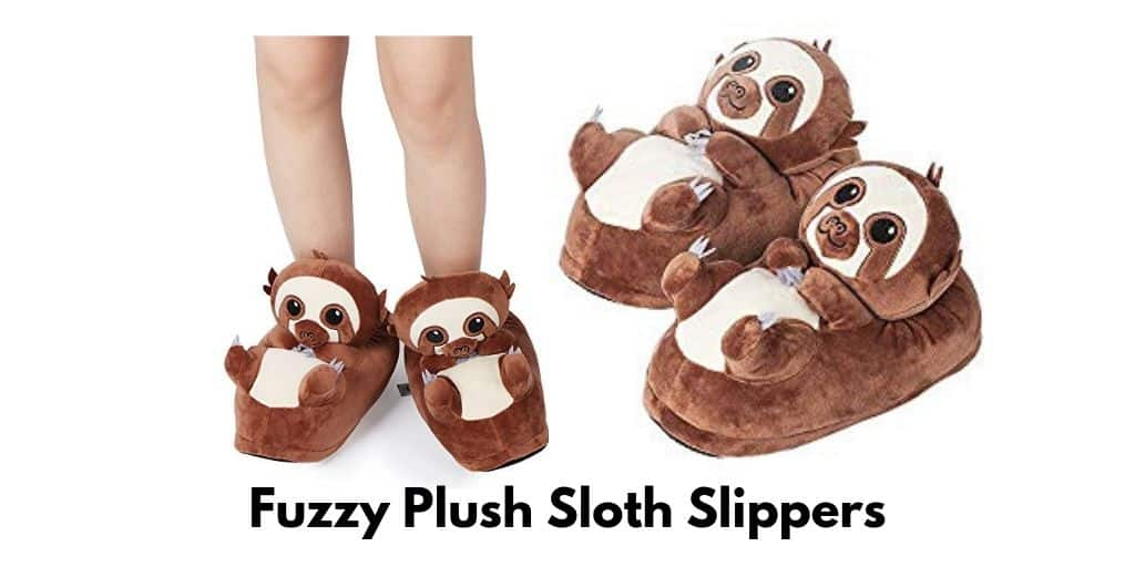 Fuzzy Plush Animal Sloth Shaped Slippers Shoes