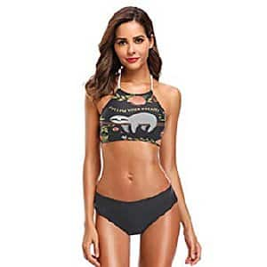 Womens Two Piece Halter Neck Sloth Swimsuit