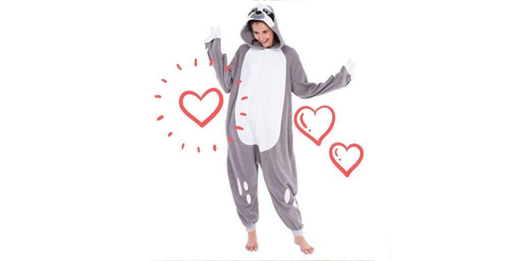 Cool Costume Onesie Sloth Unisex Pajamas Plush Adult Size Feature 2 (1)