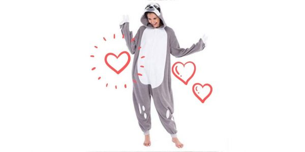 Cool Costume Onesie Sloth Unisex Pajamas Plush Adult Size Feature 2 (1)