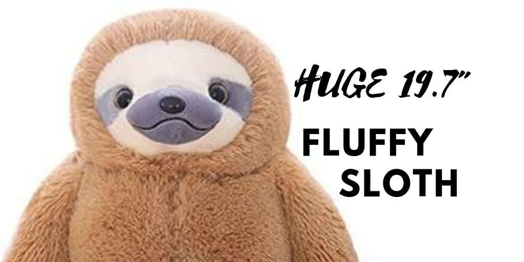 HUGE 19-7 Inch Fluffy Sloth Stuffed Animal Toy Gift for Kids Social