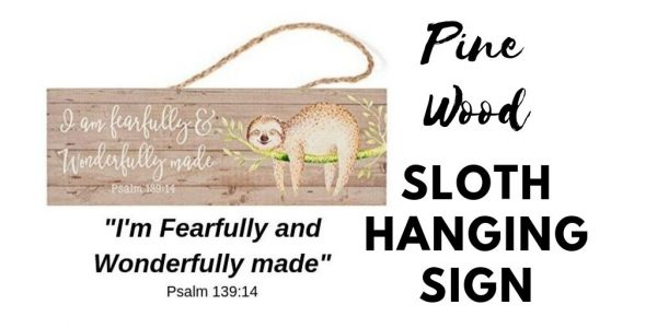 Pine Wood Sloth Hanging Wall Sign Social