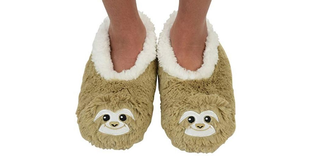 1 Pair of Super Cute Fluffy Sloth Slipper Socks Shoes feature