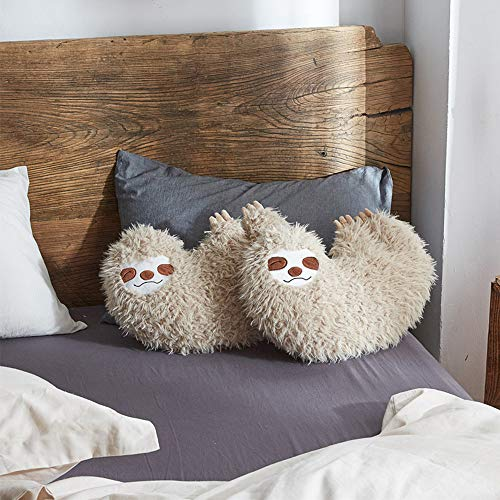 2 Pillow Sloth in Bed 16 Inch Cool Sloth Comfy Pillow Sloth Face Smiling