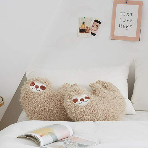 2 Sloth Pillows on Bed 16 Inch Cool Sloth Comfy Pillow Sloth Face Smiling