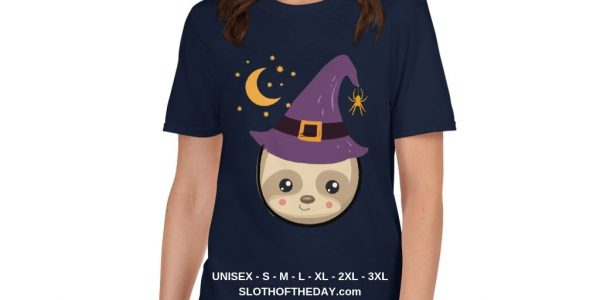 Adorable Little Witch Sloth Halloween T-Shirt Unisex
