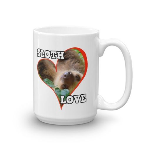 Adorable Sloth Behind a Heart Sloth Love Coffee Mug