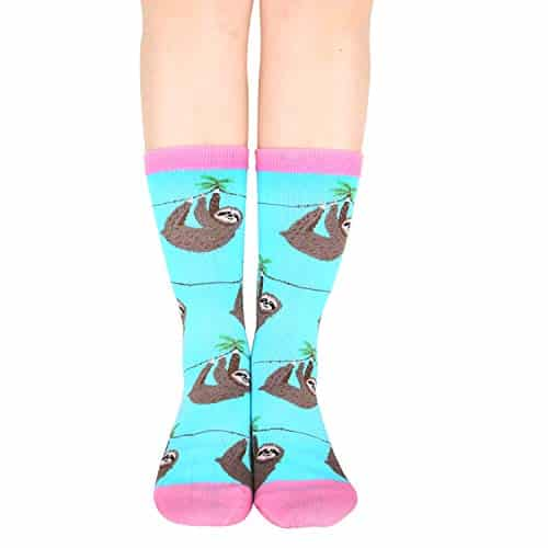 Amazing Funny Cute Lazy Sloth Cotton Crew Socks 2 Pack Sloth Socks Amazing