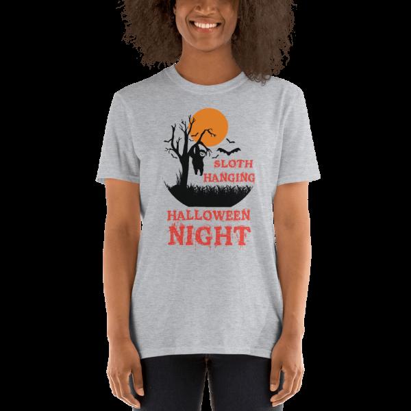 Apparitional Sloth Hanging Halloween Night T-Shirt Sloth Grey Shirt
