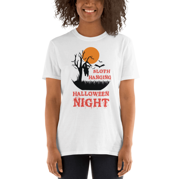 Apparitional Sloth Hanging Halloween Night T-Shirt Sloth White Shirt
