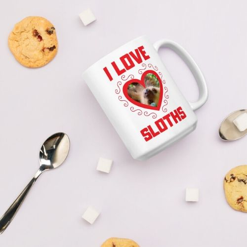 Awesome I Love Sloths Heart Shaped Sloth Coffee Mug