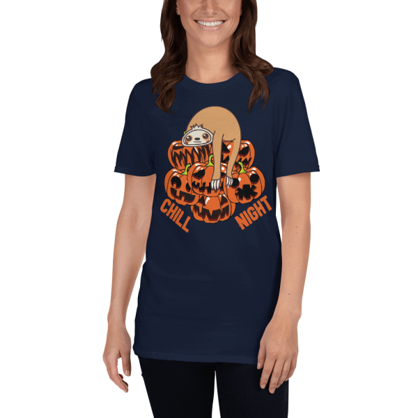 Cool Design Chill Sloth Halloween Night Sloth T-Shirt Navy