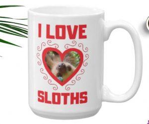 I Love Sloths Heart Shaped Sloth Java Mug – 11oz – 15oz