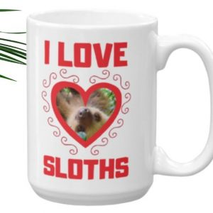Cool I Love Sloths Heart Shaped Sloth Java Mug