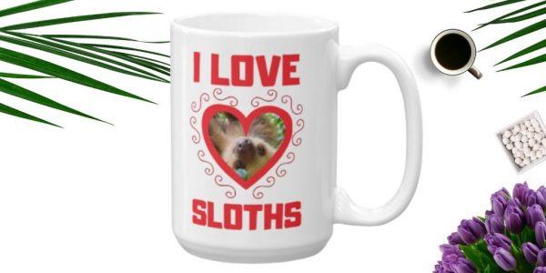 Cool I Love Sloths Heart Shaped Sloth Java Mug