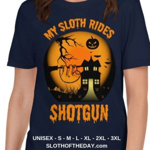 Cool-Scary-My-Sloth-Rides-Shotgun-Halloween-T-shirt