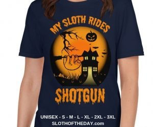 Cool Scary My Sloth Rides Shotgun Halloween T-shirt