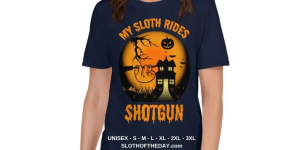 Cool Scary My Sloth Rides Shotgun Halloween T-shirt