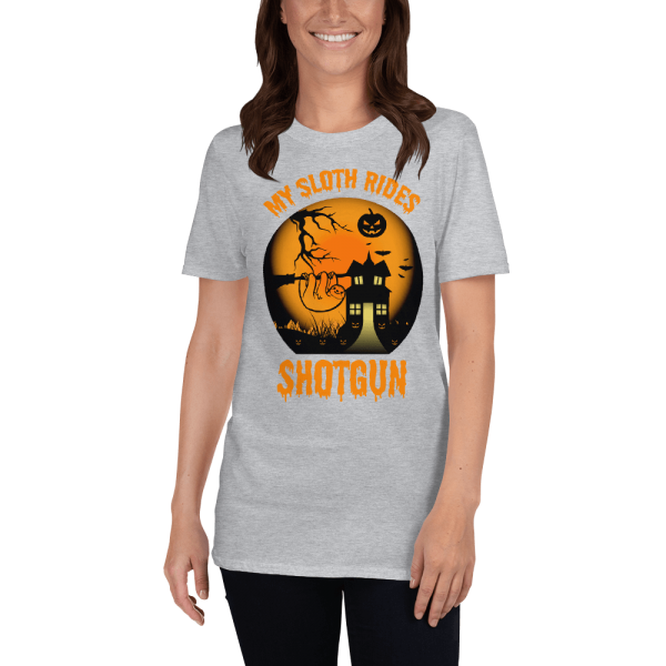 Cool Scary My Sloth Rides Shotgun Halloween T-shirt Women Sloth Shirt Grey