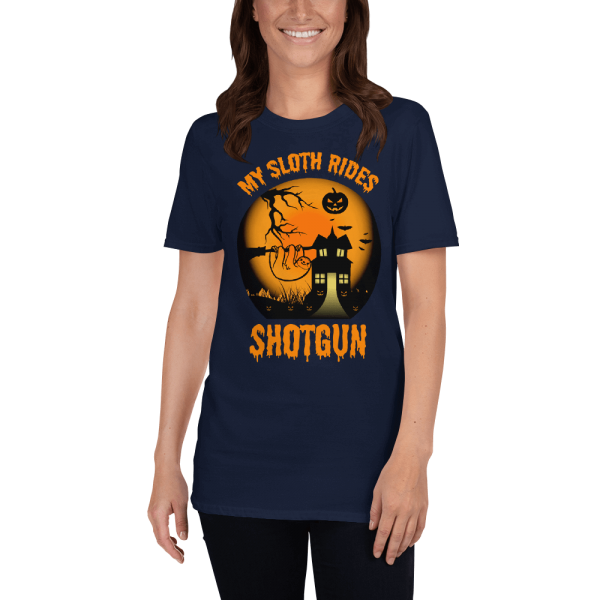 Cool Scary My Sloth Rides Shotgun Halloween T-shirt Women Sloth Shirt Navy