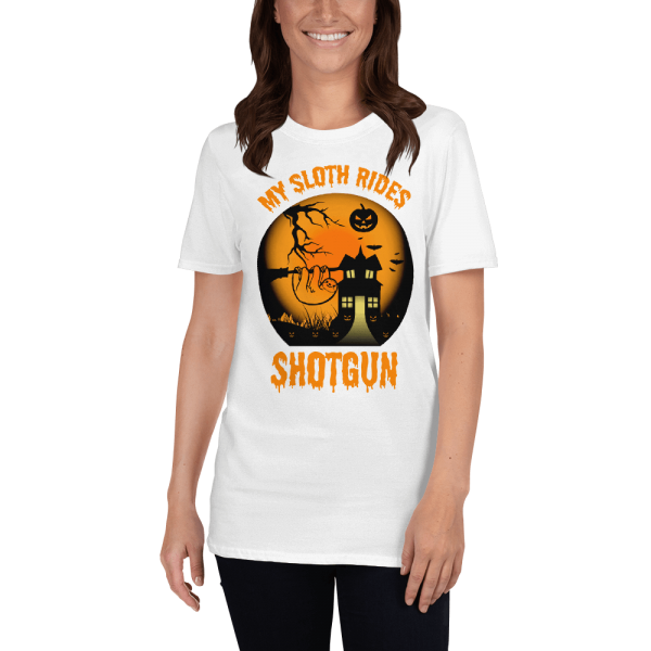 Cool Scary My Sloth Rides Shotgun Halloween T-shirt Women Sloth Shirt White