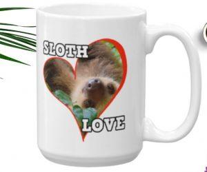 Sloth Behind a Heart Sloth Love Coffee Mug 11oz 15oz
