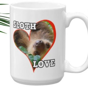 Cool Sloth Behind a Heart Sloth Love Coffee Mug