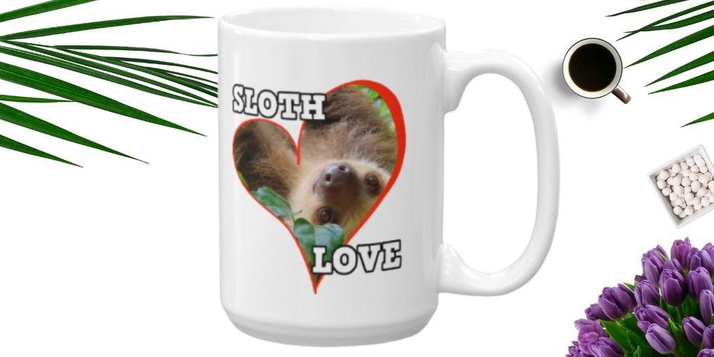 Cool Sloth Behind a Heart Sloth Love Coffee Mug