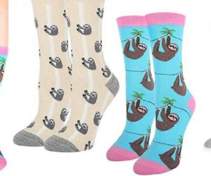 Funny Cute Lazy Sloth Cotton Crew Socks, 2 Pack