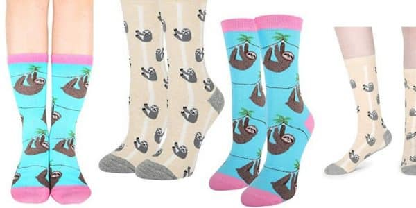 Funny Cute Lazy Sloth Cotton Crew Socks 2 Pack Sloth Socks Feature
