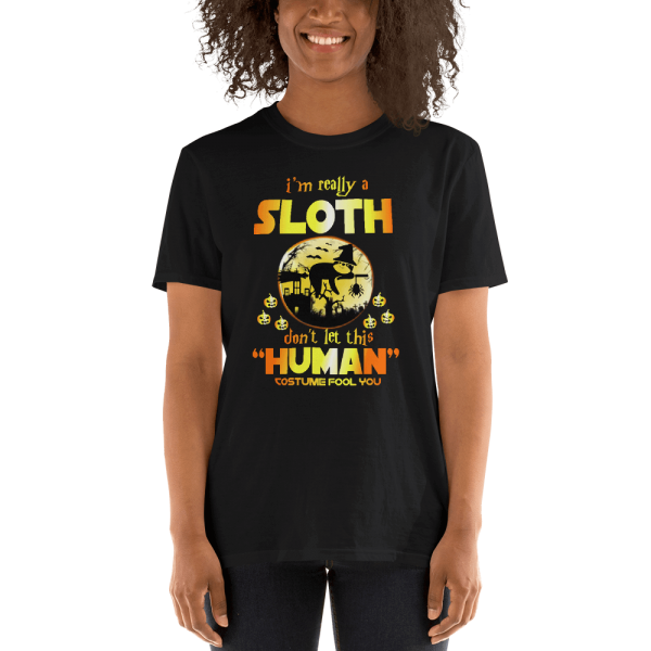 I Am Really a Sloth Halloween T-shirt Black Sloth Shirt