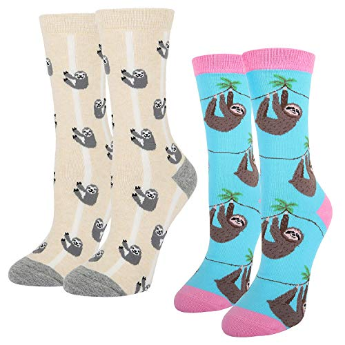 Must Have Funny Cute Lazy Sloth Cotton Crew Socks 2 Pack Sloth Socks