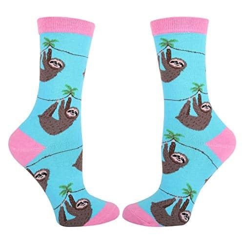 New Funny Cute Lazy Sloth Cotton Crew Socks 2 Pack Sloth Socks