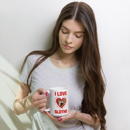 Nice I Love Sloths Heart Shaped Coffee Sloth Mug