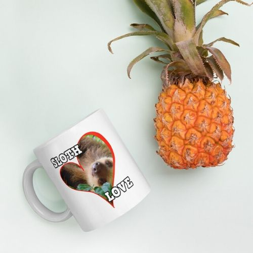 Pretty Sloth Behind a Heart Sloth Love Coffee Mug