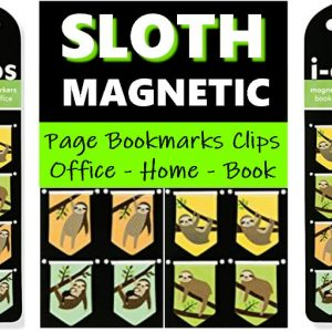 Set of 8 Sloth Magnetic Page Markers Sloths Bookmarks Clips