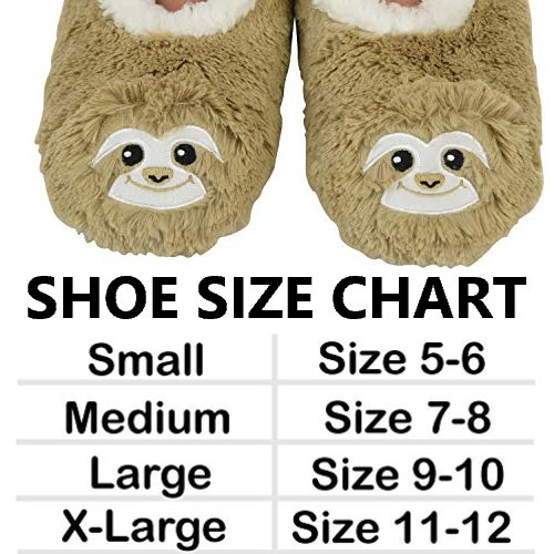 Size Chart 1 Pair of Super Cute Fluffy Sloth Slipper Socks Shoes