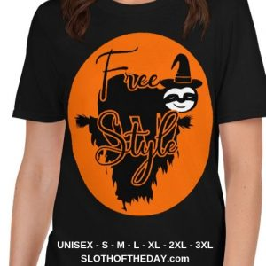 Sloth Flying Hauntingly Free Style Halloween T-shirt