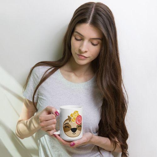 Sloth Girl Smiling Coffee Cup Cute Adorable Coffee Sloth Mug