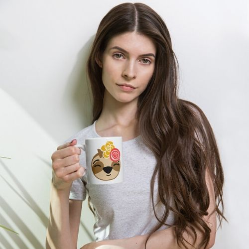 Sloth Girl Smiling Coffee Cup Cute Adorable Sloth Coffee Cup