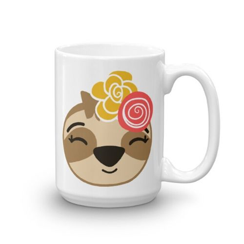 Sloth Girl Smiling Coffee Cup Cute Adorable Sloth Cup